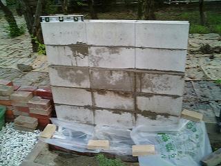 ガーデニング・DIY 壁泉のブロック積み